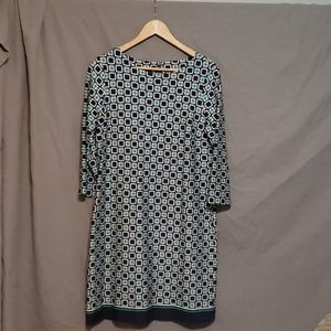 Talbots Navy and green geometric print dress